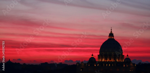 Rome by Night - Vatican Dome Silhouette