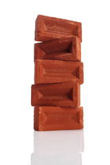 Isolated stack of bricks