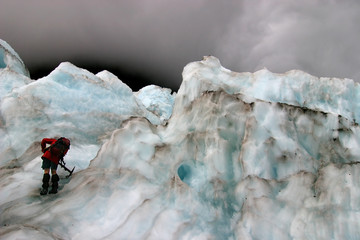 one man in a glacier