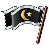 Muslim crescent and star religious icon on pirate flag poster