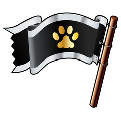 Pet or cat paw print on pirate flag