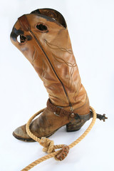 Old Working cowboy boot roped