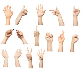 Collection of hand signs