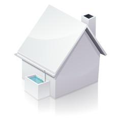 Maison blanche et récupération d'eau de pluie (reflet)