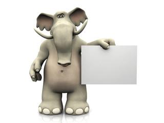 Cartoon elephant with blank sign.
