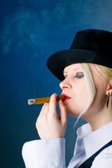 smokes a cigar