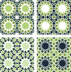 4 Islamic Star Patterns Brown, Blue, Green, White