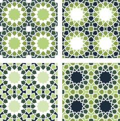 4 Islamic Star Patterns Brown, Blue, Green, White