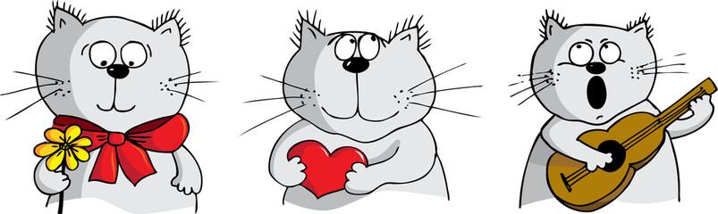 Three cats fallen in love - vector illustration