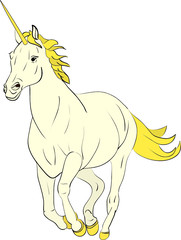 vector - running unicorn isolated on background