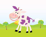 Farm scene with funny violet cow. Cartoon vector Illustration. poster