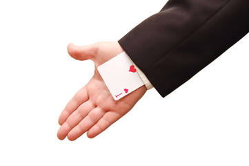 ace card held by business man