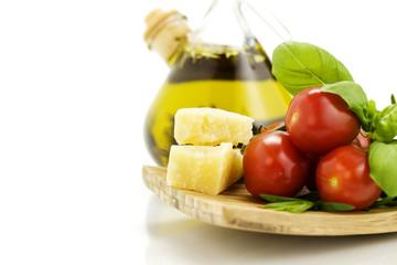 fresh italian ingredienys with copyspace