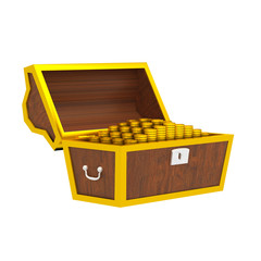 3D chest with gold isolated on white.