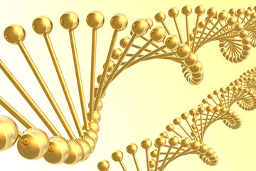 Golden DNA helices. Hi-res digitally generated image.