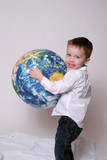 Boy holding the world and his future poster
