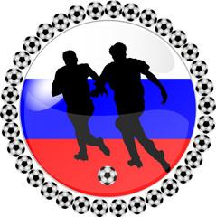 illustration eines fussball buttons russland