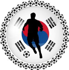 illustration eines fussball buttons süd korea