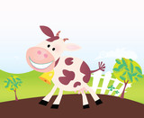 Farm scene with funny cow. Cartoon vector Illustration. poster