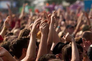 Hands on the air - fans in a concert