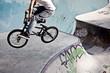 Leinwandbild Motiv BMX im Skatepark