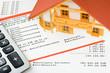 Modellhaus auf Darlehenskonto-Auszug