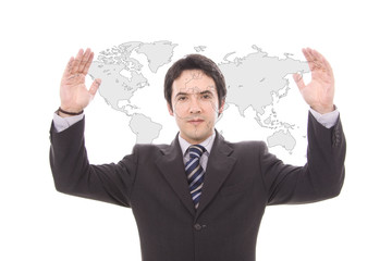 business man shows world map isolated on white