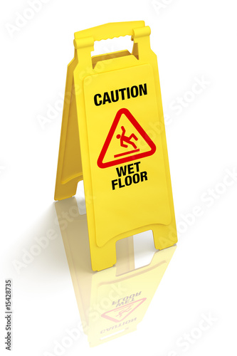 """Caution - Wet Floor"" sign, isolated, with clipping path"