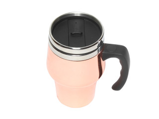 Heat protection-thermos(steel travel)coffee mug. Isolated
