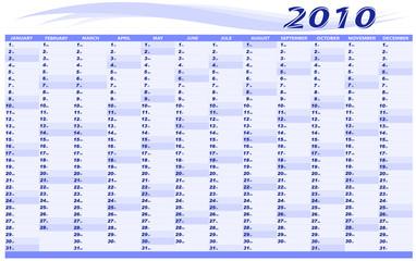 Calendar  for 2010. Vector.