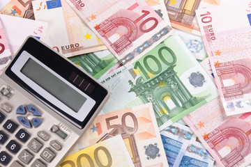 Euro banknotes and calculator 3
