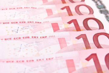 Ten euro banknotes background