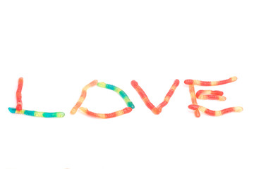 LOVE, written with gummy snakes