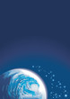 Background with planet and shining stars, copy-space, vector
