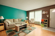 Teal and Brown Family Room - 15443371