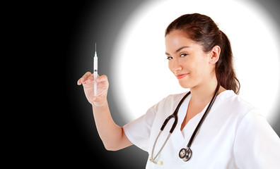 Nurse with Syringe Looking at You for an Injection