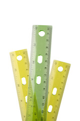 Three plastic rulers