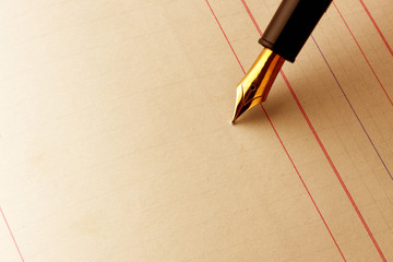 Fountain pen writing on ledger