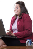 Business woman in state of shock while using her laptop poster
