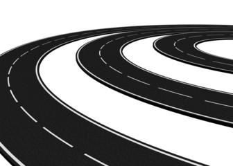 Curved asphalt road - 3d render