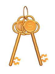 golden keys with euro and dollar