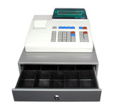 Cash register on a white background. Drawer is open and empty. poster