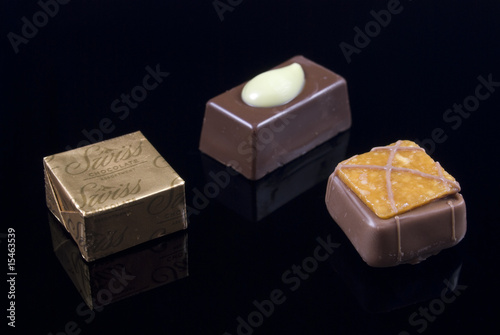 Selection of milk, dark and white chocolates