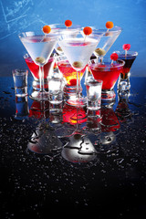 Martini, Cosmopolitan, russian and shooters