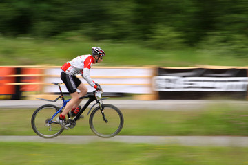 Mountain Biker in race