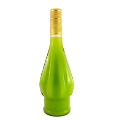 A bottle of liquor with a natural juice of kiwi fruit