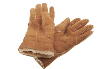 pair of winter sheepskin gloves on white
