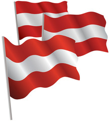 Austria 3d flag. Vector illustration. Isolated on white.