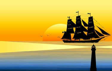 old sail ship on sunset