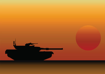 Military Tank Silhouetted Against Dawn or Dusk Sky